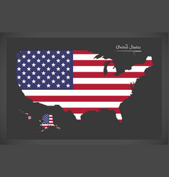 United states map with american national flag illu vector