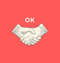 vintage drawing of handshake in engraving style vector image