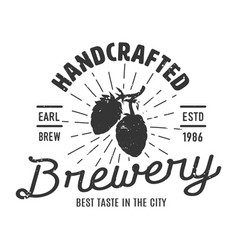vintage monochrome brewery logotype concept vector image
