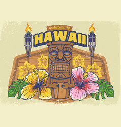 Vintage textured hawaii design vector