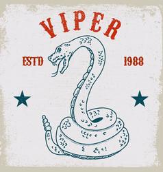 viper snake on grunge background design element vector image