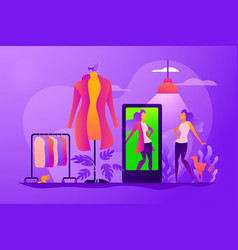 Virtual fitting room concept vector