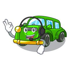 With headphone classic car toys in cartoon shape vector