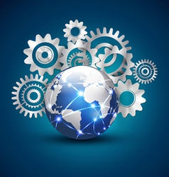 World technology and communication with gears vector