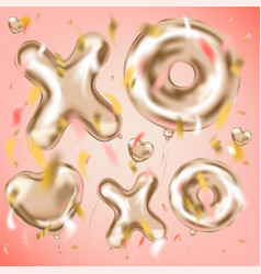 Xoxo and heart metallic balloons and foil confetti vector
