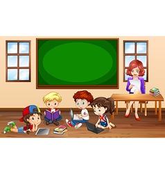 Children doing groupwork in classroom vector image