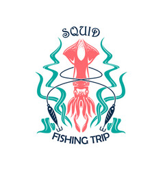 fishing trip sporting symbol with squid vector image