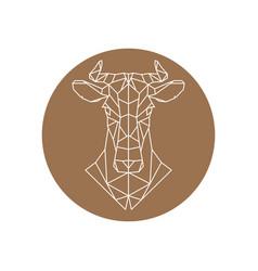 geometric head of a cow farm animal vector image vector image