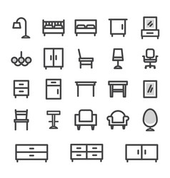 icons set furniture for home and office vector image