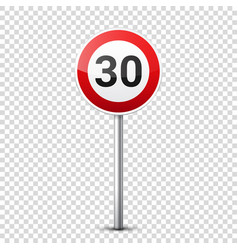Road red signs collection isolated on transparent vector
