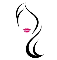 Woman silhouette with long hair vector