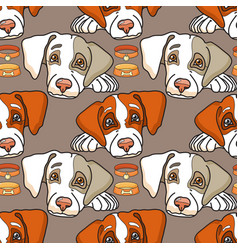 cartoon dog on grey seamless pattern vector image