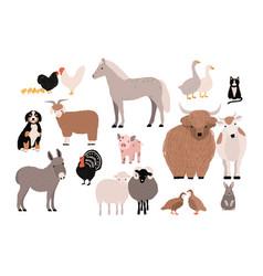 farm pets colorful collection cute domestic vector image