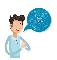 Man user smartphone bubble speech social media vector