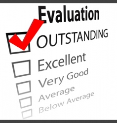 outstanding job evalution check boxes vector image vector image