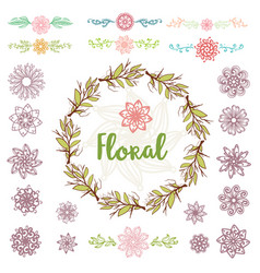 collection design elements and frame flowers vector image vector image