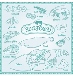 Outline Seafood Set vector image vector image