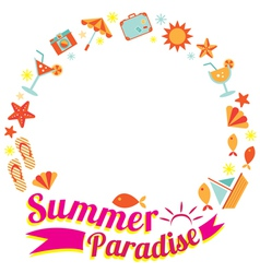 Summer Flat Icons and Text Heading Wreath vector image