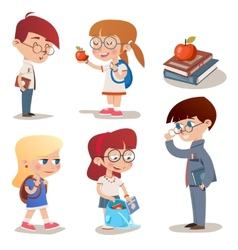 Vintage Style Characters School Children Set vector image vector image