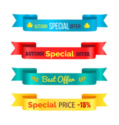 autumn special offer ribbons vector image