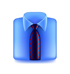 Blue shirt with striped tie isolated on white vector image vector image
