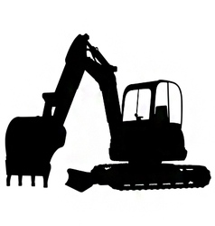 compact excavator silhouette vector image vector image