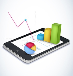 Financial elements on tablet vector image