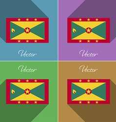 Flags Grenada Set of colors flat design and long vector image vector image