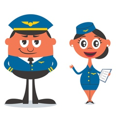 Pilot and air hostess vector