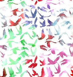 Watercolor Doves and pigeons seamless pattern on vector image vector image