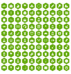 100 child center icons hexagon green vector image