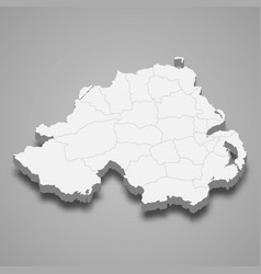 3d isometric map northern ireland isolated vector