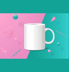 3d realistic white cup abstract scene vector image