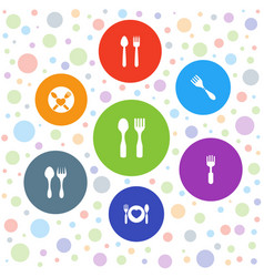 7 cutlery icons vector image