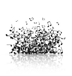 abstract music background with black note symbols vector image