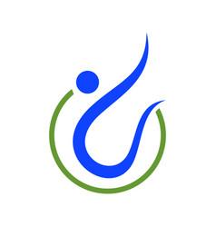 abstract swoosh figure healthy symbol logo design vector image