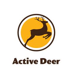 active deer - black silhouette reindeer vector image