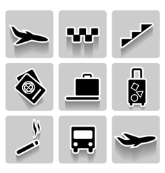 airport icons collection vector image