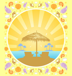 Background summer card with deckchair and vector