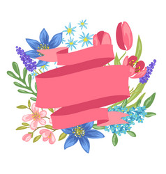 banner with spring flowers vector image