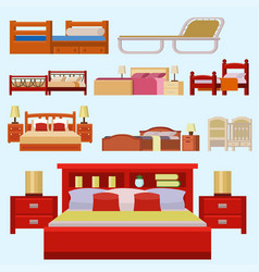 Bed icon set interior home rest collection vector
