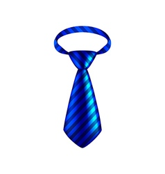 Blue striped tie isolated on white vector