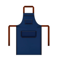 Blue work apron mockup realistic style vector