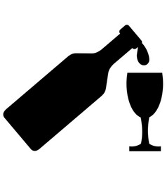bottle and wine glass icon vector image