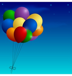 Bunch of colorful balloons on a blue sky vector image
