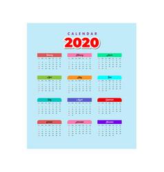 Calendar 2020 template 2 vector