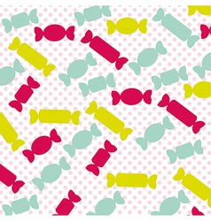 Candies silhouette pattern of colors pink dot back vector