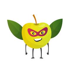 Cartoon superhero apple fruit in mask and cape vector