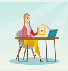 Caucasian woman getting shopping bags from laptop vector