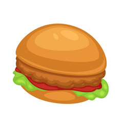 chicken burger with ketchup sauce and lettuce vector image